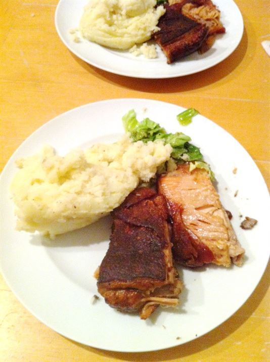 Blackened Crispy Pork Belly with Mash and Buttered Cabbage, Lay The Table