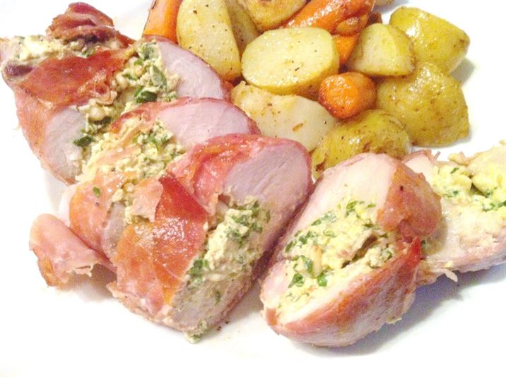 Herby Cheese Stuffed Chicken Breasts wrapped in Parma Ham, Lay The Table