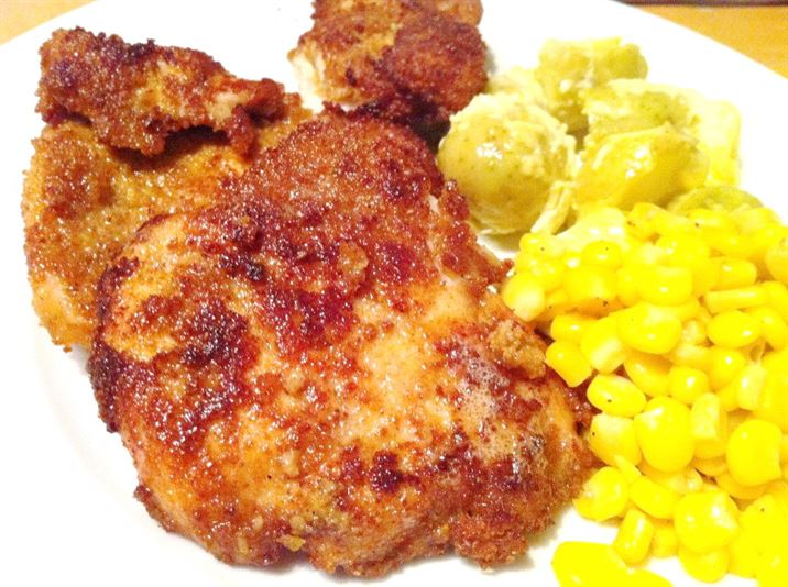Spicy Crumbed Chicken Breast with Mustard-Mayo Potato Salad, Lay The Table