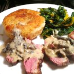 Pan-Fried Goose Breast with Wild Mushroom Sauce, Potato Cake and Swiss Chard