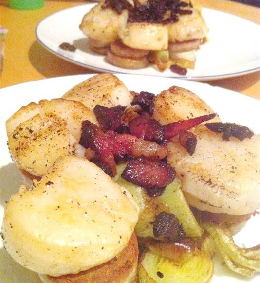Leeks with scallops, white pudding and bacon butter, Lay The Table